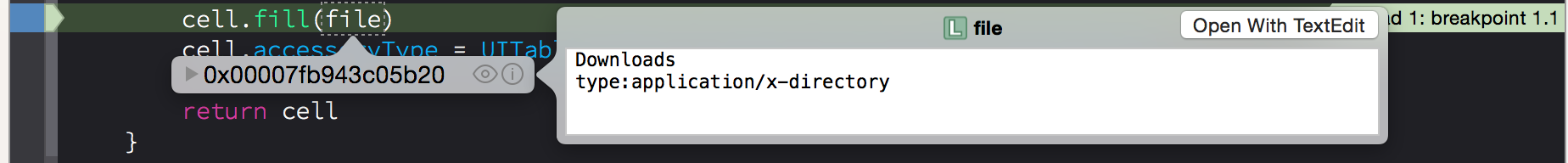 Quick look of an object in XCode